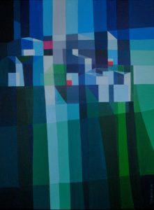 Tom Kuper acrylschilderij bergdorp 2 afmeting 60x80cm. (2010)