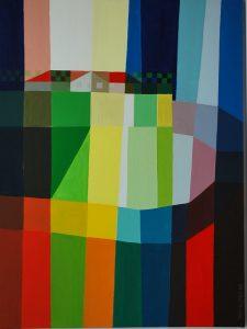 Tom Kuper acrylschilderij bergdorp 1 afmeting 60x80cm. (2009)