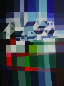 Tom Kuper acrylschilderij bergdorp Frankrijk afmeting 60x80cm. (2007)