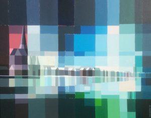Tom Kuper acrylschilderij Kamper IJsselfront afmeting 125x80cm. (2009)