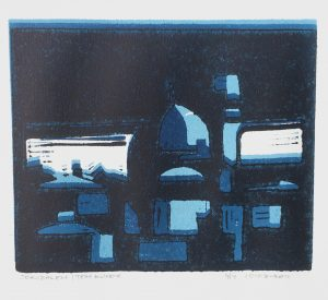 Tom Kuper linodruk Jeruzalem beeldformaat 25x20cm. (2009)