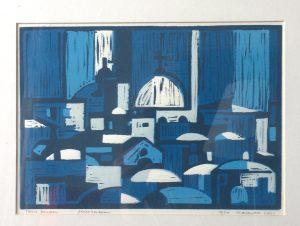 Tom Kuper linodruk Jeruzalem beeldformaat 35x25cm. (2011)