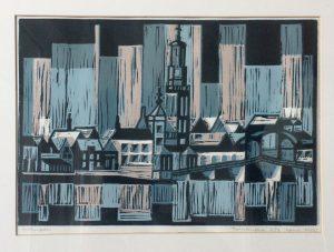 Tom Kuper linodruk Kampen 1700 beeldformaat 40x30cm. (2012)