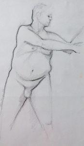 Tom Kuper conté-tekening naakt beeldformaat 25x35cm. (2015)