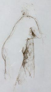 Tom Kuper conté-tekening naakt beeldformaat 30x40cm. (2016)